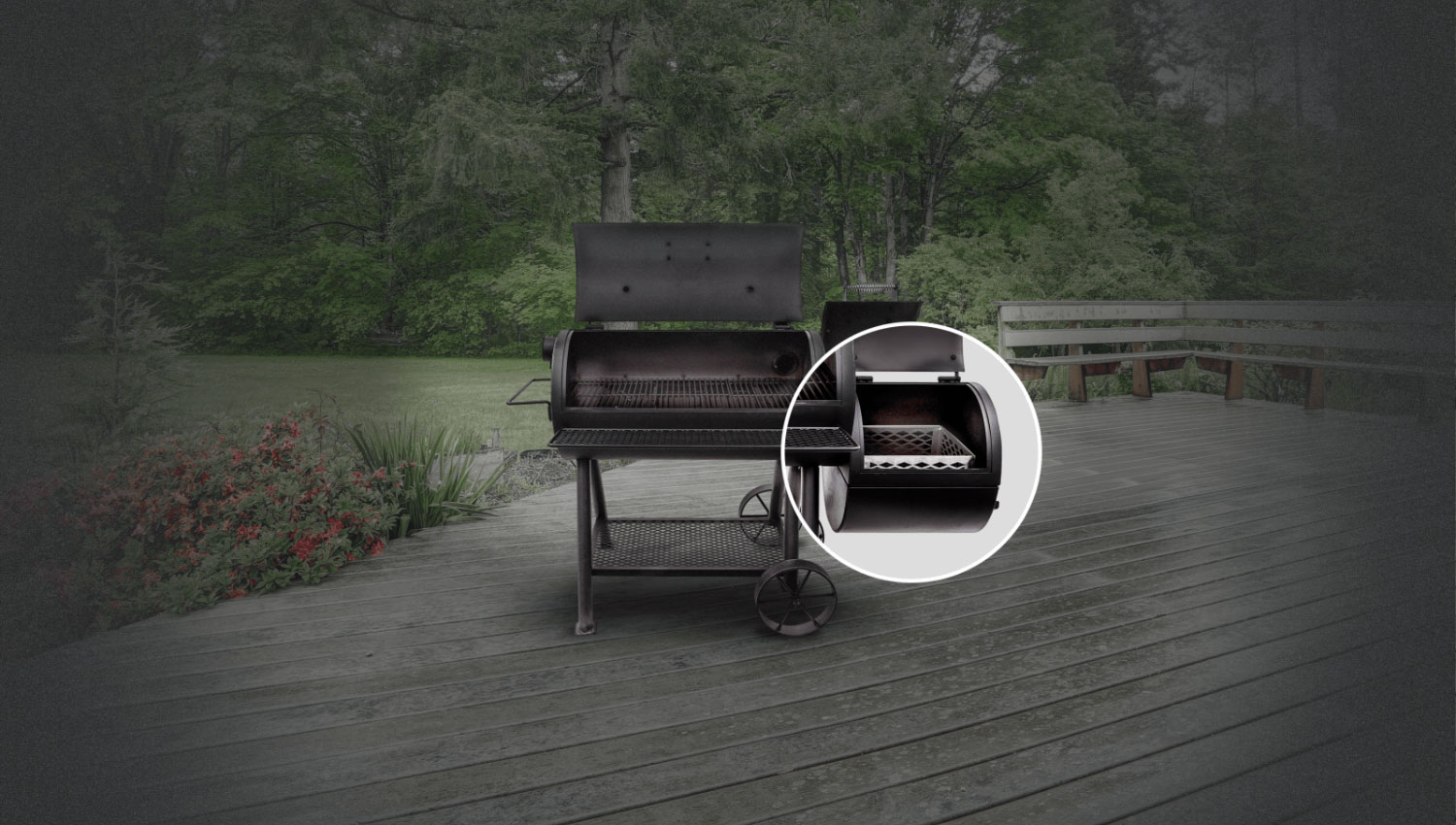 Large charcoal basket provides a more efficient burn, easier tending and quicker clean-up.