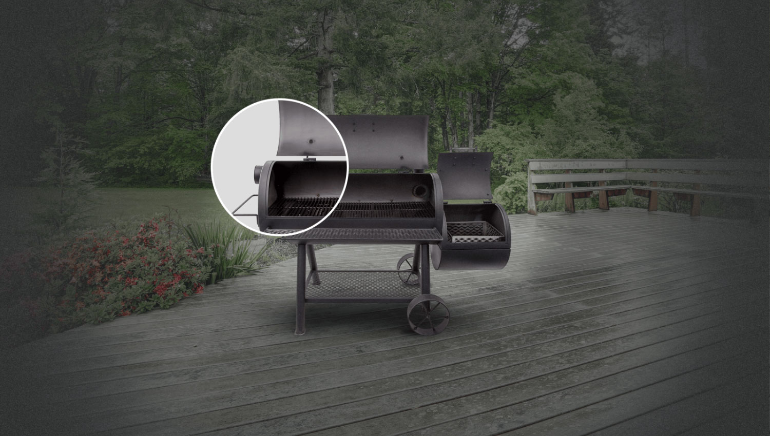 Optional smokestack locations let you choose between reverse flow smoking and traditional offset smoking.